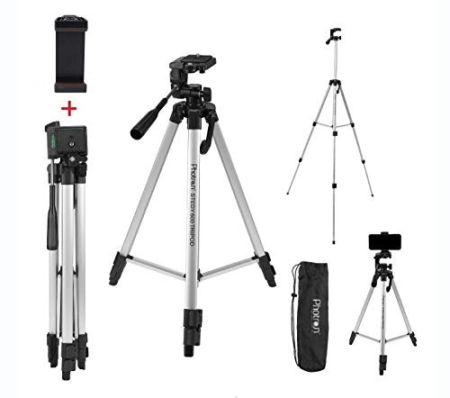 Photron Stedy 600M Tripod with Mobile Holder for Smart Phone, Camera, Mobile Phone | Extends to 1345mm (4.4 Feet) | Folds to 515mm(1.6 Feet) | Weight Load Capacity: 3kg | Case Included, Silver