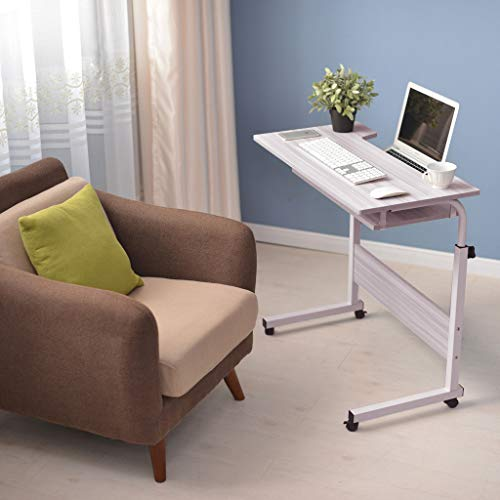 Jeash Adjustable Height Desk Laptop Movable Bedside Desk Table Lap Desk with 4 Wheels Flexible Wooden Stand Desk Cart Tray Side Table [Ship from USA Directly] (White)