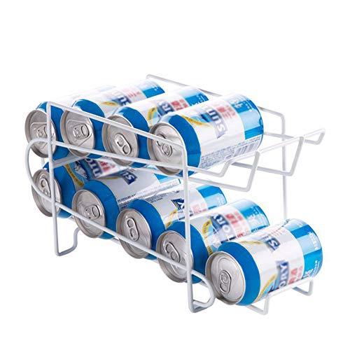 topxingch 2-laags Inclined Angle Slideway blikjes Opslag Rack Dispenser voor 10 stks Standaard blikjes (330 ml) Capaciteit voor Huishoudelijke Koelkast Bar Table Organiser Kleur: wit