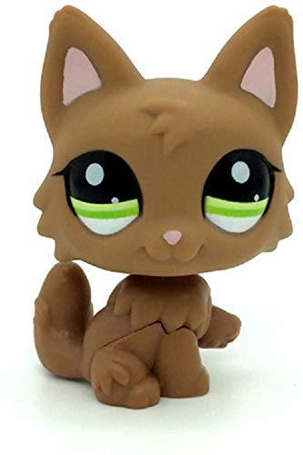N/N Littlest Pet Shop, LPS Toy Dog Puppy Brown Wolf Fox Green Eyes Pink Ears