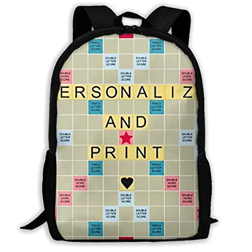 SARA NELL School Backpack Best Smart Printable Scrabble Board Bookbag Casual Travel Bag For Teen Boys Girls