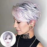 BECUS Pixie Cut Peluca corta sintética con capas de pelo recto Flequillos para mujeres Cosplay (Ombre raíces marrón oscuro mezclado)