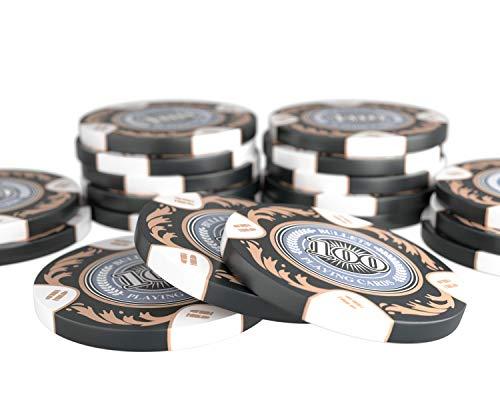 Bullets Playing Cards - 20 Clay Pokerchips Tony für Pokerset - Wert 100 - 14g - 4cm Durchmesser - Farbe Schwarz
