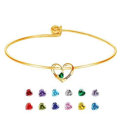 Pulseras personalizadas para mujer, pulsera para el día de la madre personalizada con piedras de nacimiento de corazón, pulseras de oro..