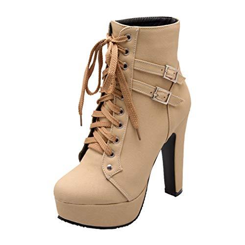 High Heels Stiefeletten Plateau Ankle Boots mit Blockabsatz und Schnürung Absatz Winter Schuhe (Beige,43)