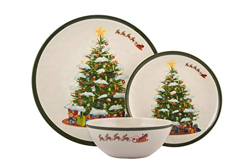 Melange 18-Piece Melamine Dinnerware Set (Christmas Tree) | Shatter-Proof and Chip-Resistant Melamine Plates and Bowls | | Dinner Plate, Salad Plate & Soup Bowl (6 Each)