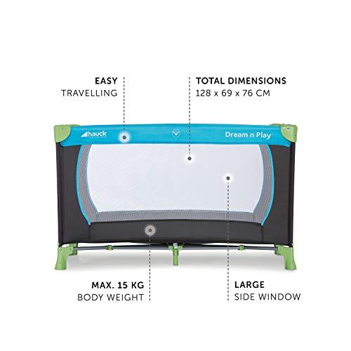 Hauck Kinderreisebett Dream N Play / inklusive Einlageboden und Tasche / 120 x 60cm / ab Geburt / tragbar und faltbar, Wasser (Blau) - 7