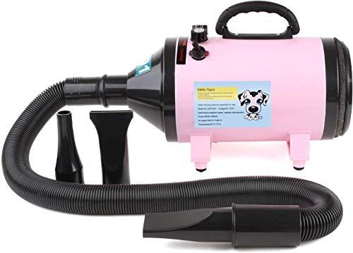 MVPOWER Secador de Cabello Profesional para Pelo Perros Gatos Animales 2800W con Tubo Flexible 2,3 m Temperatura Velocidad Ajustable Rosa