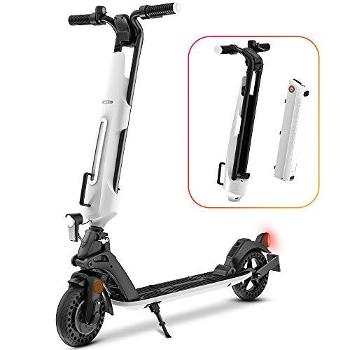 Elektro Scooter, 300W Motor E-Scooter mit Straßenzulassung (eKFV), Herausnehmbarer Akku, Geschwindigkeit 25Km/h, 25-30Km Reichweite, ABE-Zertifizierter Faltbar Elektroroller für Erwachsene - U1 (Weiß)