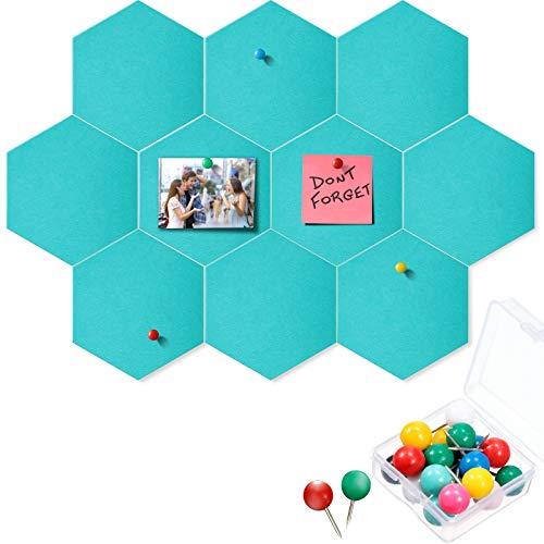 10 Paquetes de Tableros Chinchetas Tablero Hexagonal de Anuncio Nota de Fieltro de Azulejos con 20 Alfileres de Empuje Decoración para Oficina (Verde Ligero, 5,9 x 7 Pulgadas/ 15 x 17,7 cm)