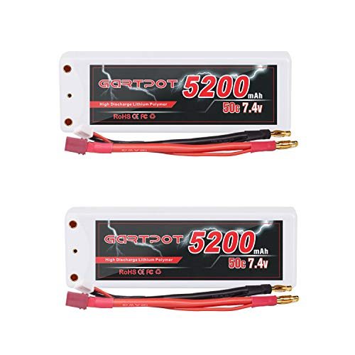 GARTPOT RC Battery 2S 5200mAh 7.4V 50C LiPo Battery Hardcase Pack with Deans T-Plug for RC Car Evader RC Helicopter RC Truck RC Evader BX Auto LKW Truck Truggy Buggy Boat RC Hobby (2packs)