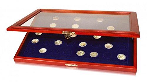 SAFE 5868 Holz Münzvitrine für 40 Stk. 2 Euro Münzen - Echtholzrahmen - königsblau Samteinlage
