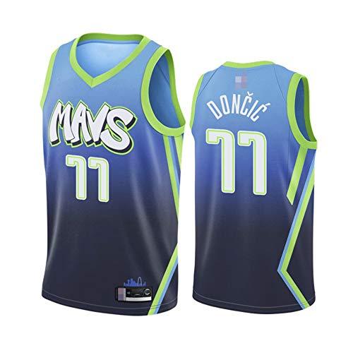Jerseys Men's, NBA Dallas Mavericks # 77 Luka DONCIC - Uniformes De Baloncesto Clásicos Camisetas Deportivas Sin Mangas Y Camisetas Cómodas,Azul,S(165~170CM)
