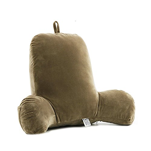 barrana Back Cushion with Lumbar Support, Backrest Cushion Back Support Cushion with arms T-Shaped Cotton for Couch, Sofas, Lounge, Lounger - with Zipper Removable Covers Washable (Brown)