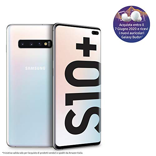 Samsung Galaxy S10+ Smartphone, Display 6.4' Dynamic AMOLED, 128 GB Espandibili, RAM 8 GB, Batteria 4100 mAh, 4G, Dual SIM, Android 9 Pie, [Versione Italiana], Prism White