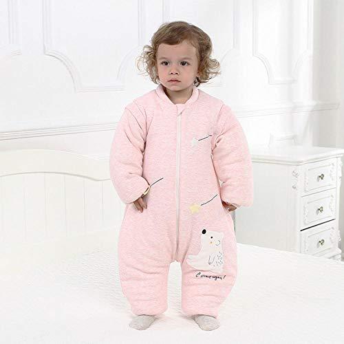Saco de dormir para bebés con mangas extraíbles,Pijama de niño recién nacido, mangas extraíbles de algodón de colores para evitar patadas-Oso rosa_Longitud 75cm,Súper Suave y cálido,Muselina P