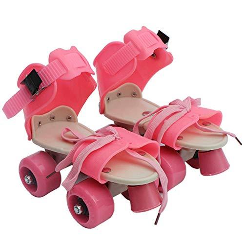 ZZZTWO Roller Skates Adjustable for Kids Quad Skates for Boys and Girls Inline Skates Rewind Unisex Outdoor Roller Skate Summer Pink