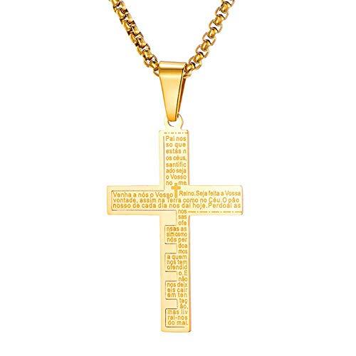 LKYH Moda clásica Personalidad Hombres Mujeres Moderno Pop Creativo Latino español Biblia oración del Señor Cruz Colgante Collar