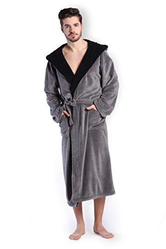 COSMOZ® Premium Herren Coral Fleece Morgenmantel Bademantel- Gr. L, Farbe: Grau mit schwarzer Kapuze