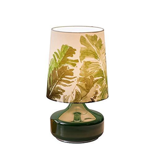 DALIBAI Lámpara de lectura de escritorio de cristal con planta tropical hoja cilíndrica, bombilla LED, lámpara de mesa para dormitorio, sala de estar, habitación de niños, biblioteca