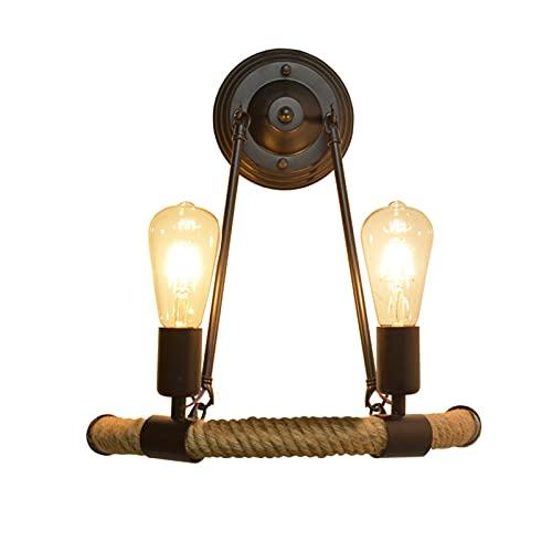 SXYRN Lámpara de Pared Vintage Cuerda de cáñamo Metal Conector E27 Vintage Aplique Retro para Corredor, Dormitorio, Escalera Lámpara de Pasillo No Incluye Bombilla