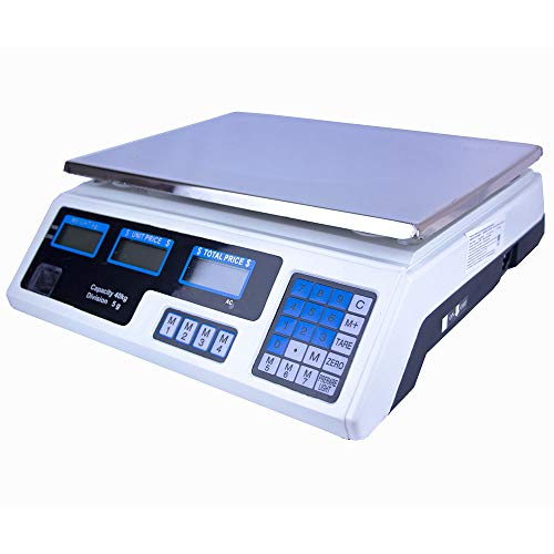 Just Home Bascula Digital 40 Kg Comercial Negocio Recargable Multifuncion Calcula Peso Precio Doble Pantalla LCD