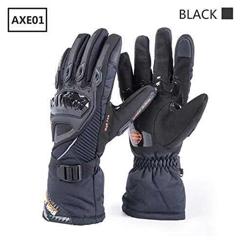 Winter Motorrad Handschuhe wasserdicht Winddicht warm Moto Schutzausrüstung Touchscreen Motocross Motorrad Reithandschuhe-AXE01-Black-3-M