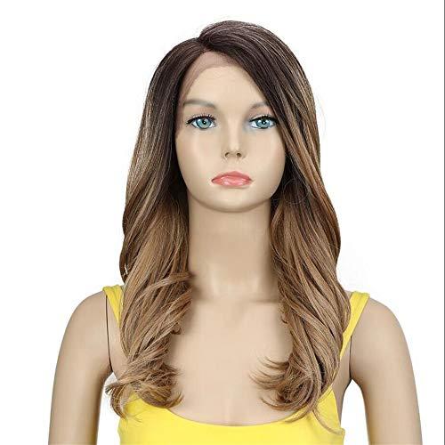 """Perruque synthétique pour femme noire Trendy Lace Front Wigs Cheveux synthétiques ombrés 20"""" Marron"""