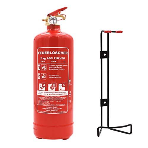 Orig. ANDRIS® 1kg ABC Marken-Feuerlöscher Pulver für Auto/LKW, mit KFZ-Drahthalter EN3 inkl. ANDRIS® Prüfnachweis mit Jahresmarke