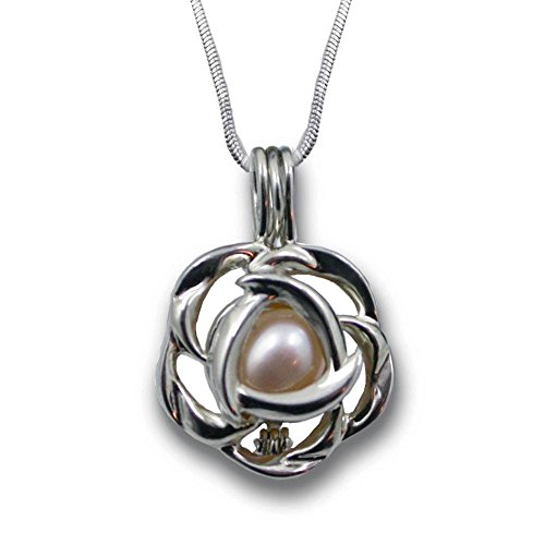 Freshwater Cultured Love Pearl Oyster Necklace Kit Silver-tone Rose Cage with Stainless Steel Chain 18'
