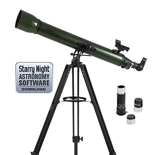 Celestron ExploraScope AZ - Telescopio astronómico (80 mm de Apertura, 900 mm de Distancia Focal, f/11 de relación Focal) Color Verde y Negro