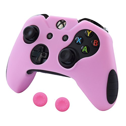Pandaren Soft Silicone Thicker Skin Cover for Xbox One Controller Set (Pink Skin X 1 + Thumb Grip X 2)