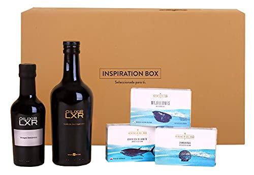 Inspiration Box lote 71 Aceite de Oliva Virgen Extra, Ventresa de Bonito del Norte, Mejillones en Escabeche de las Rias Gallegas