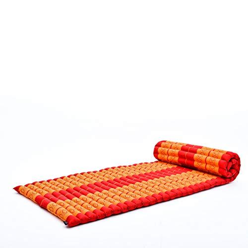 Leewadee colchoneta tailandesa Enrollable M – Colchón para masajes Grueso, futón para Dormir, Alfombra de kapok, 200 x 76 cm, Naranjo Rojo