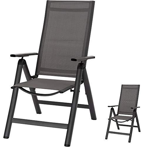 acamp Gartenstühle Spring | 2er-Set Klappsessel | Anthrazit/Carbon | Rücken mehrfach verstellbar | Größe: 59x70x110cm | Aluminium-Gestell pulverbeschichtet | wetterfestes Acatex-Gewebe