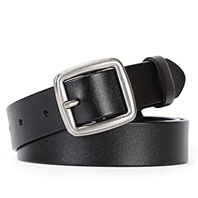 JASGOOD Women Hollow Leather Belt Ladies Grommet Casual Belt for Jeans with Studded Holes