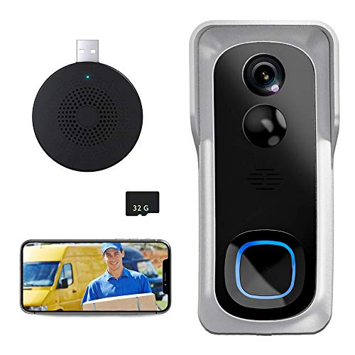 Wireless Video Doorbell Camera, 1080P Security WiFi Doorbell Camera with Indoor Chime PIR Motion Detector, IR Night Vision, IP66 Waterproof, 2-Way Audio with 32GB SD Card (Silver)
