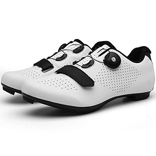 YQSHOES Zapatillas Ciclismo para Hombre Calzado Bicicleta Carretera con SPD y Zapatos Tacos Delta Bicicletas Carrera Aire Libre,Blanco,44EU/9.5UK/10US