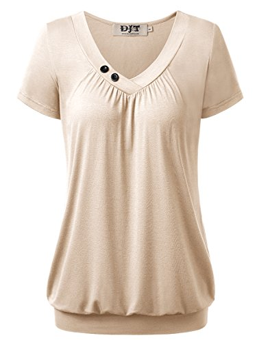 DJT Damen Basic V-Ausschnitt Kurzarm T-Shirt Falten Tops mit Knopf Beige L