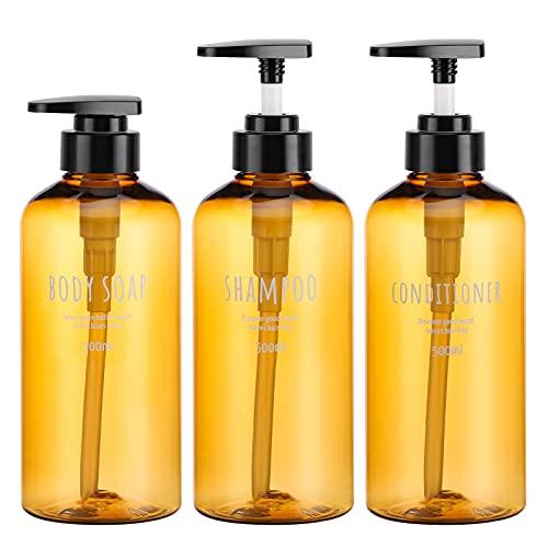 Botellas de dispensador de 3 Piezas para baño, Botellas de Bomba Recargables Segbeauty de 500 ml para jabón líquido...