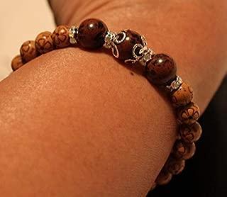 Obsidian & Engraved-Wooden Beaded Handmade Shamballa Bracelet