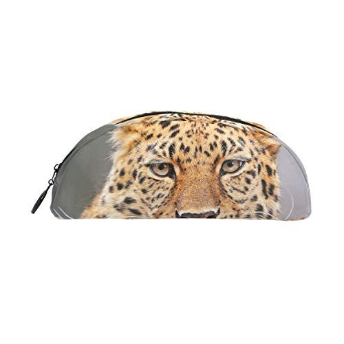 BENNIGIRY Federmäppchen, Leopardenmuster, große Kapazität, Stifttasche, Schreibtisch-Organizer, halbrund, Schreibwaren-Etui für Schule und Büro