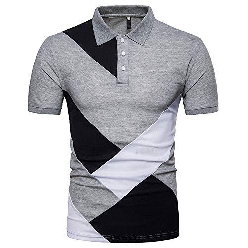 Shirt Hombre Verano Kent Cuello Empalme Hombres T-Shirt Bolsillos Transpirables Moda Manga Corta Hombres Shirt Ocio Botón Tapeta Negocios Golf Deporte Al Aire Libre Hombres Polo C-Gray1 XXL