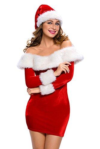 Women Mrs. Claus Costume 2 Piece Santa Costume Sexy Christmas Dress Large Red1