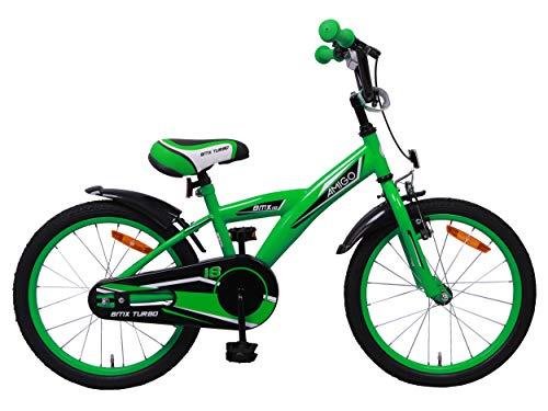 AMIGO BMX Turbo - Kinderfahrrad für Jungen - 18 Zoll - mit Handbremse, Rücktritt, Lenkerpolster und fahrradständer - ab 5-8 Jahre - Grün