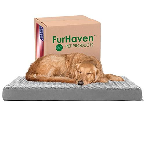 Furhaven Pet Dog Bed - Deluxe Orthopedic Mat Ultra Plush Faux Fur Traditional Foam Mattress Pet Bed...