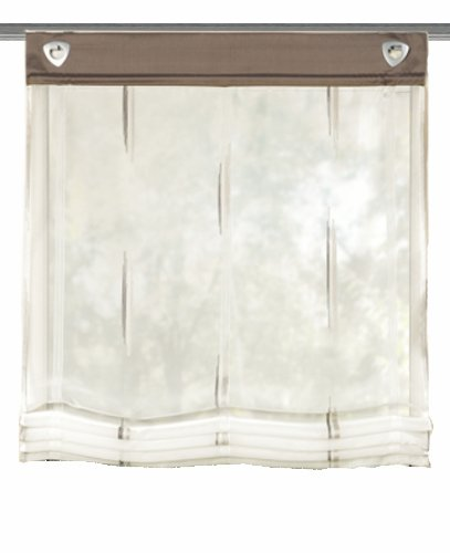 Home Fashion 91357-860 Ösen-Raffrollo Scherli, 140 x 80 cm, Voile, Stein