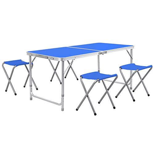 Homfa Campingtisch Klapptisch Gartentisch Falttisch mit 4 Stühlen aus Aluminium faltbar höhenverstellbar blau 120x60x55/60/70cm