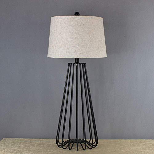 GJY Lámpara de Mesa Creativa de Hierro de Hierro Labrado de Metal Negro, Lámpara de Mesa de Noche de Habitación Simple, Lámpara de Mesa de Tamaño Grande, Lámpara de Mesa en Blanco Y Negro
