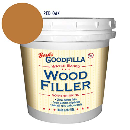 Water-Based Wood & Grain Filler - Red Oak - 1 Quart by Goodfilla | Replace Every Filler & Putty | Repairs, Finishes & Patches | Paintable, Stainable, Sandable & Quick Drying